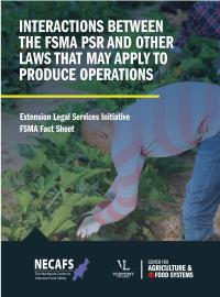 FSMA PSR other laws factsheet cover